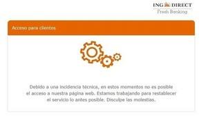 Mensaje publicado por ING Direct en el momento del colapso de su web