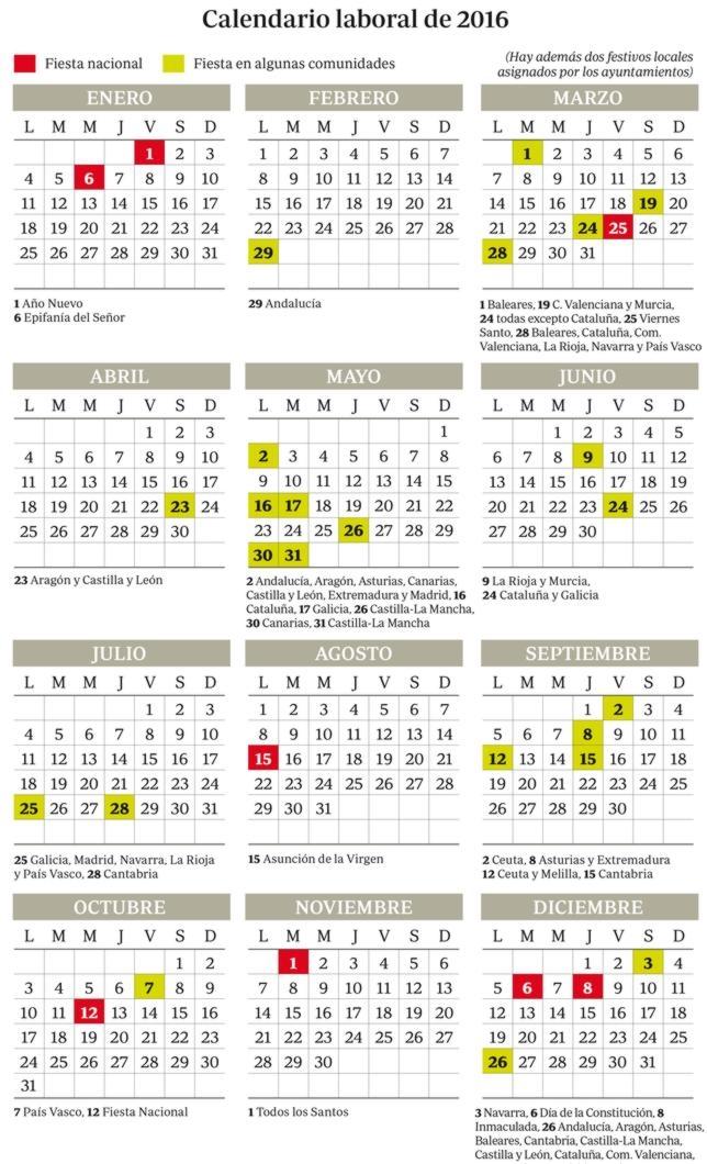 Calendario laboral de 2016