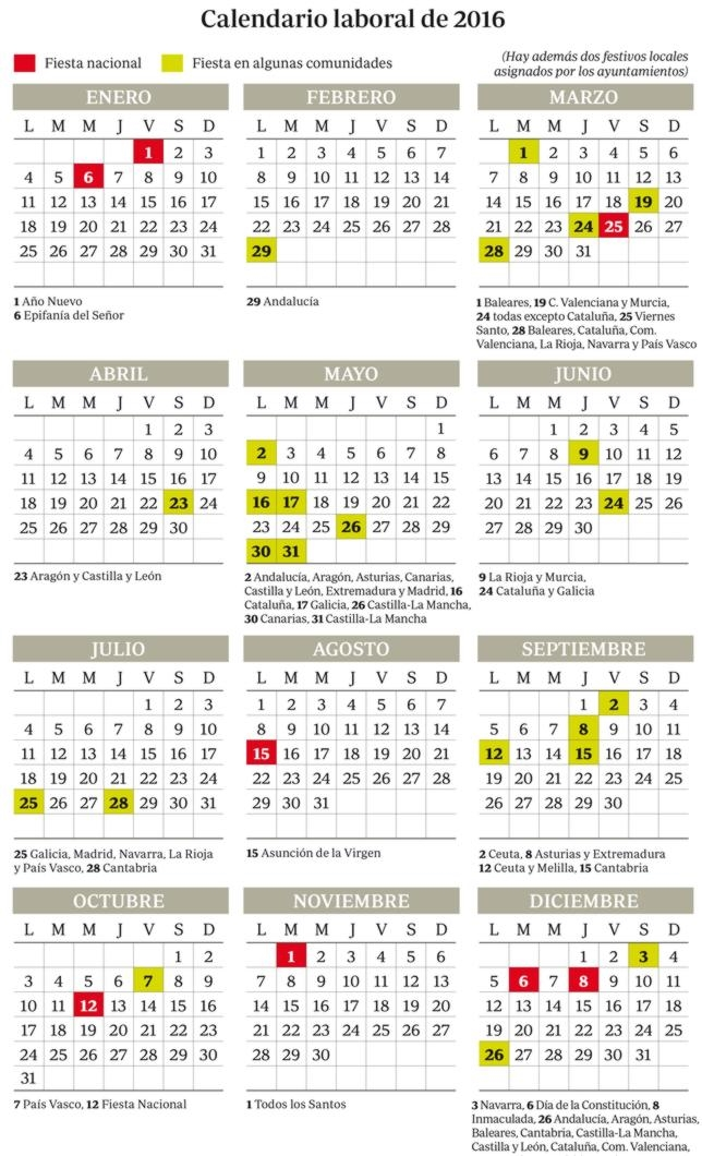 Calendario laboral de 2016 - ABC ABC Madrid 13/05/2016 11:33h ...