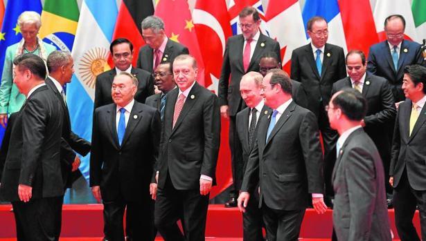 Los principales líderes de los veinte países más ricos del mundo, el G-20, durante la reunión que mantuvieron el pasado fin de semana en China