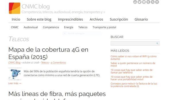 Página web de la CNMC