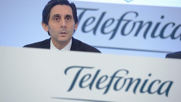 El presidente de Telefónica, José María Álvarez-Pallete, durante la rueda de prensa que ha ofrecido hoy con motivo de la presentación de los resultados anuales de la compañía