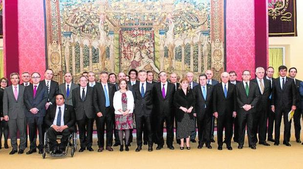 Foto de familia del desayuno en el Palacio del Pardo