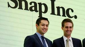 Los fundadores de Snap, Evan Spiegel and Bobby Murphy