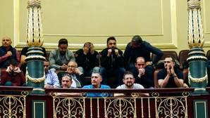Un grupo de estibadores, el pasado marzo, en el Congreso