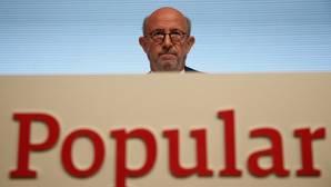 El presidente del Popular, Emilio Saracho, en la junta de accionistas del banco el pasado 10 de abril