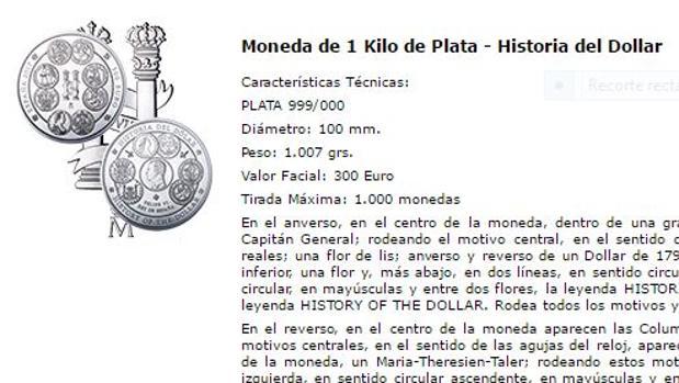 Captura de la página web de la Casa de la Moneda