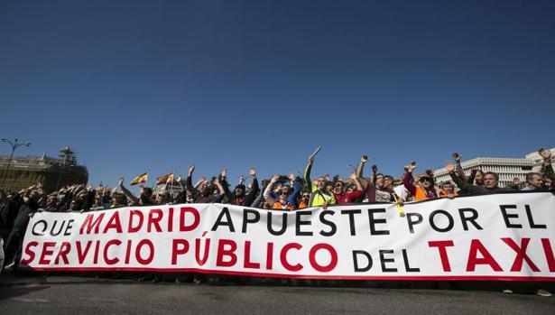 Huelga de taxistas en Madrid el pasado marzo