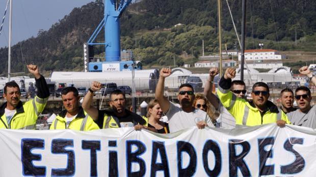 Protesta de estibadores en Vigo