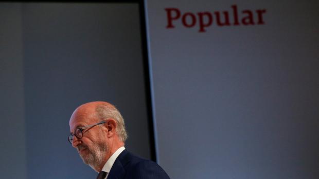 Emilio Saracho durante la junta de accionistas de Banco Popular