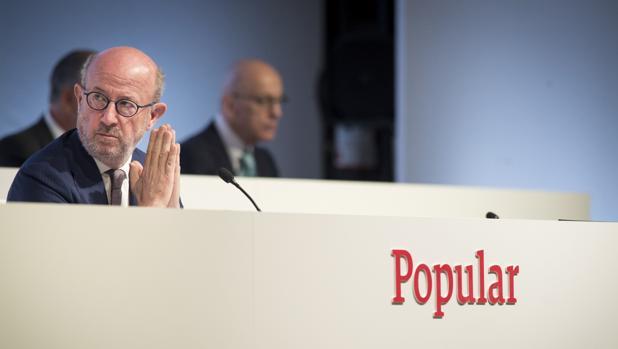 Emilio Saracho, presidente de Popular, durante la junta de accionistas del banco