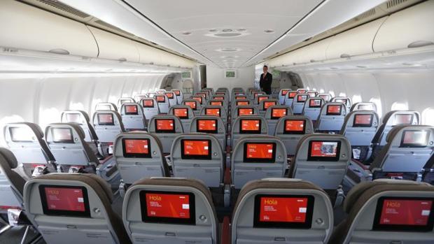 Asientos de un avión de Iberia