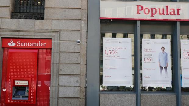 Sucursales del Banco Santander y del Banco Popular juntas