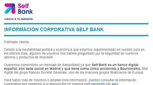 Correo electrónico enviado por Self Bank a sus clientes