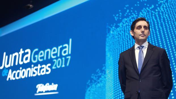 Álvarez-Pallete, presidente de Telefónica, durante la junta de accionistas del grupo