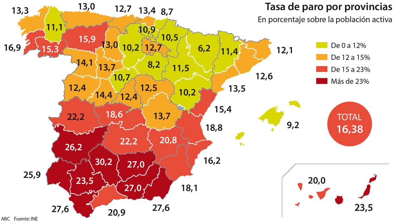 El mapa del paro en espa a las peores y mejores for Oficina de paro madrid