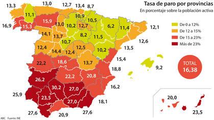 Las peores y mejores provincias para encontrar trabajo en España