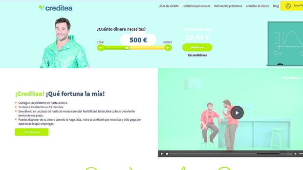 Captura de la web de Creditea
