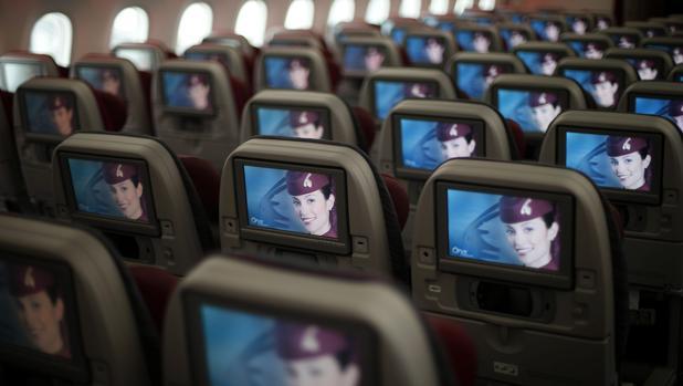 Interior de un Boeing 787 operado por Qatar