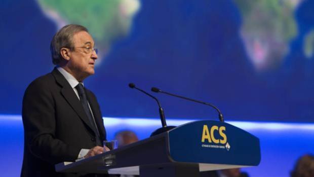 Florentino Pérez, presidente de ACS, en la junta de accionistas del grupo