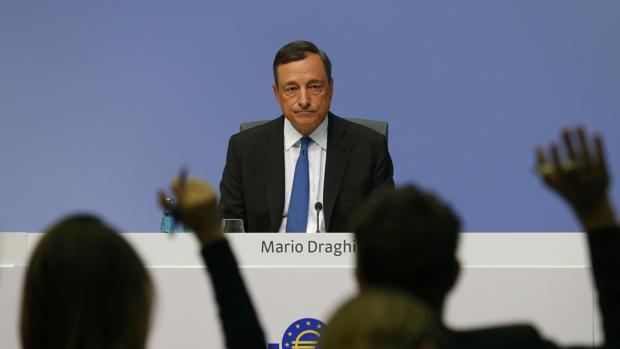 Mario Dragui, presidente del BCE, en una rueda de prensa
