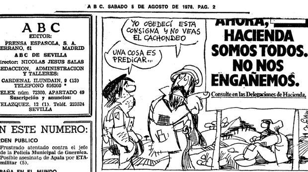 El genial Mingote ya ironizó con el lema del entonces Ministro de Hacienda, Fernández Ordóñez