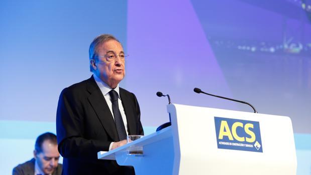 Florentino Pérez, durante la junta de accionistas de ACS