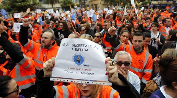 Protestas del año pasado de los estibadores