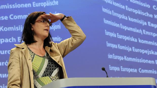 Cecilia Malmström, comisaria europea de Comercio, en una rueda de prensa en Bruselas