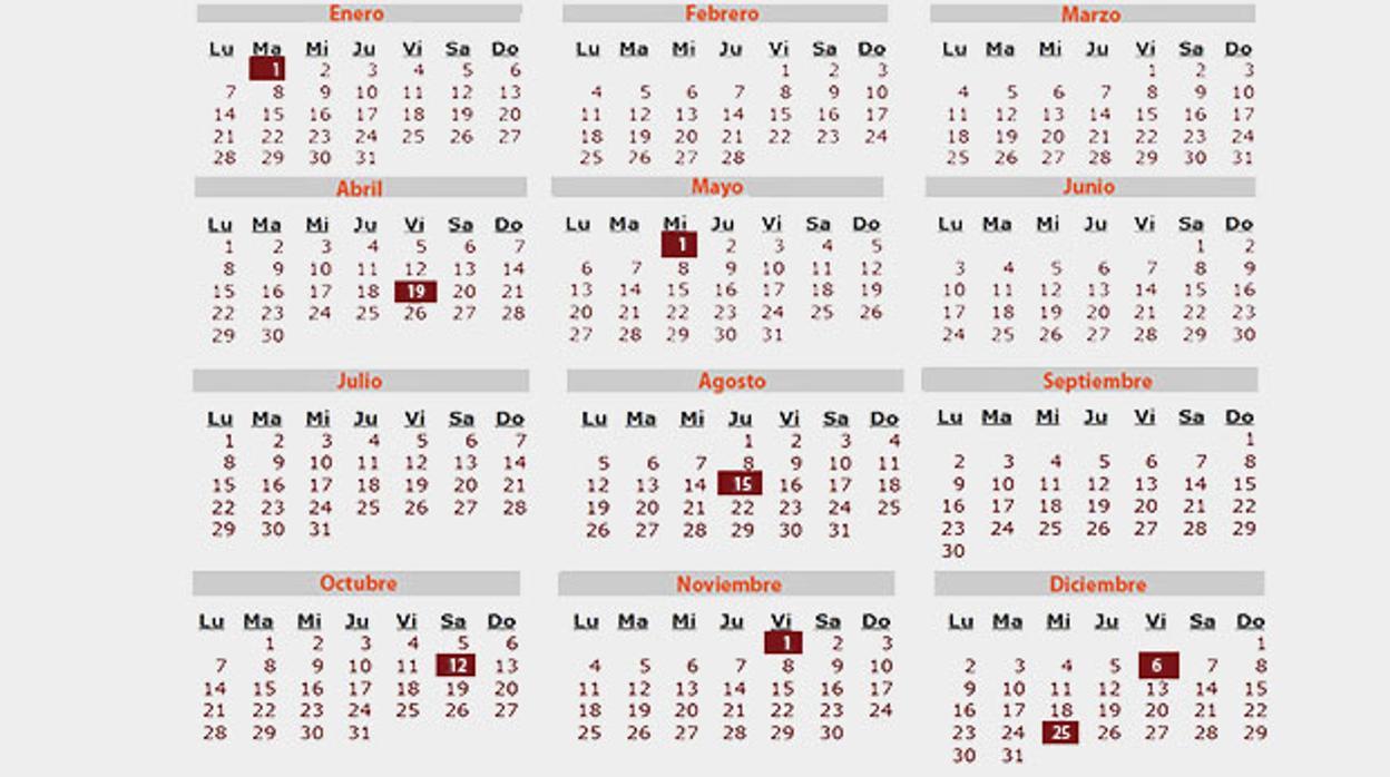 Calendario Noviembre 2019.Calendario Laboral 2019 Todos Los Dias Festivos De Tu Comunidad