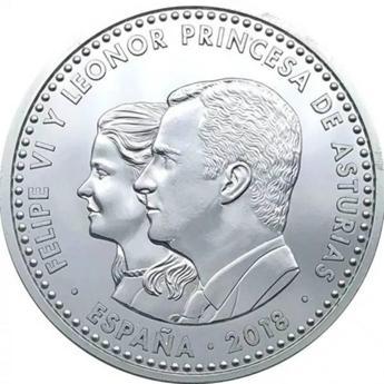 Imagen de la moneda con las figuras del Rey Felipe VI y la Princesa Leonor