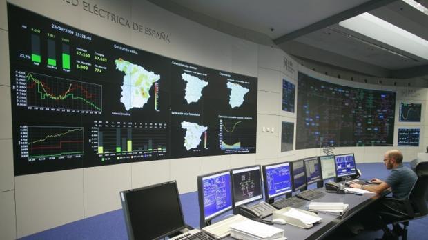 Sala de control de REE en su sede de Alcobendas (Madrid)