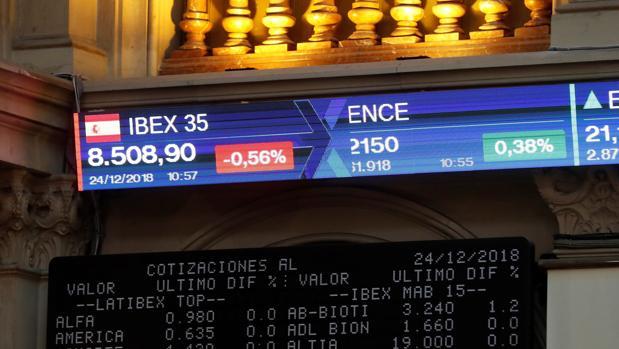 La Bolsa de Madrid durante la jornada de caídas en Nochebuena