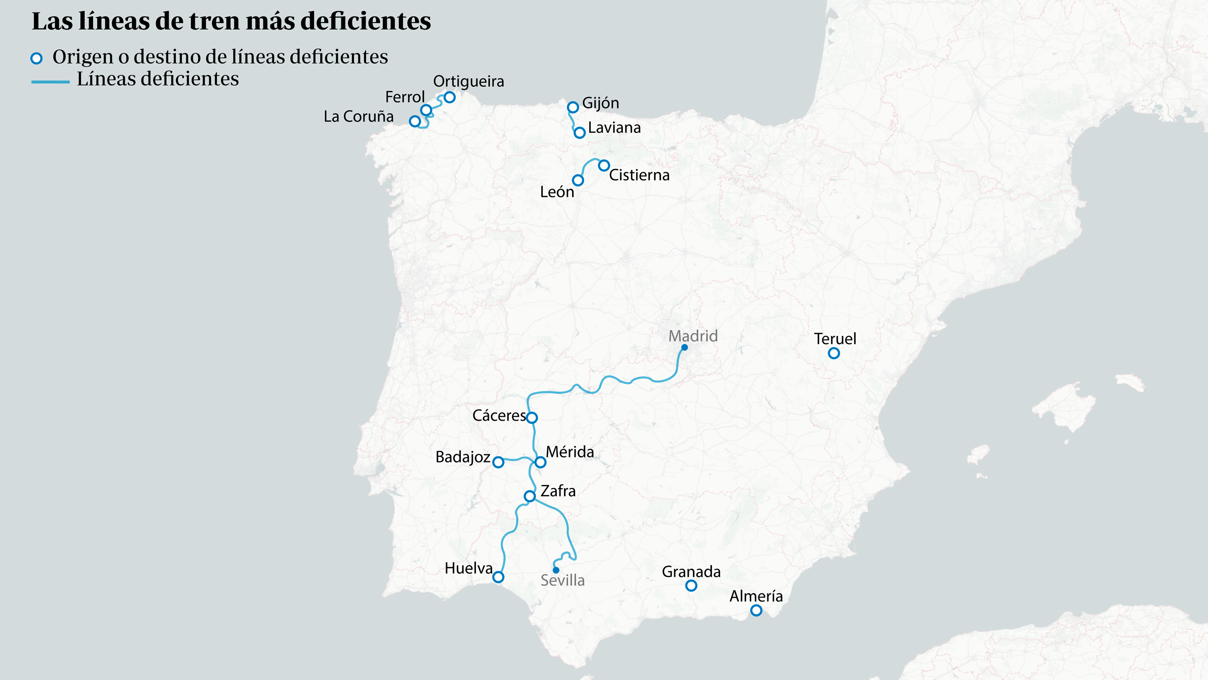 Las líneas de tren más deficientes de España