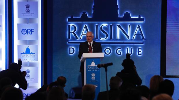 Josep Borrell, durante su participación en el foro internacional sobre geopolítica y economía «Diálogos de Raisina»