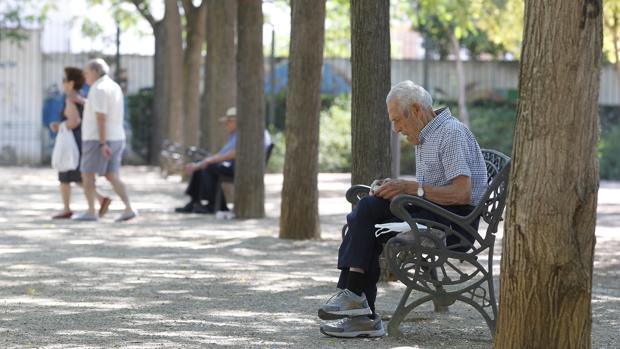 Jubilados sentados en un parque