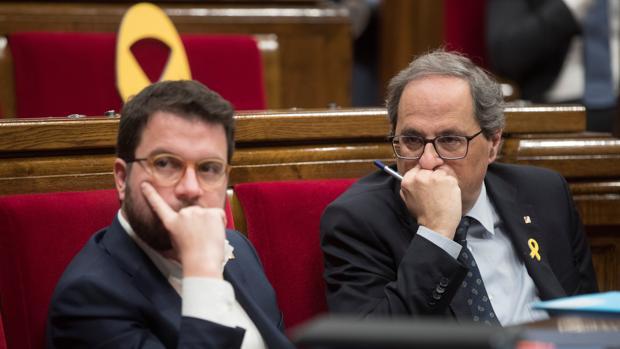 El vicepresidente de la Generalitat, Pere Aragonès, y el presidente, Joaquim Torra