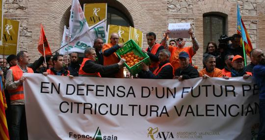 Protesta de citricultores valencianos