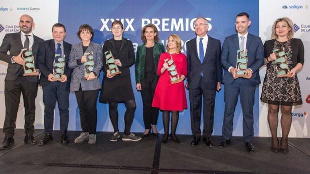 Los premiados, con la ministra en el centro y, a su izquierda, el presidente de Enerclub