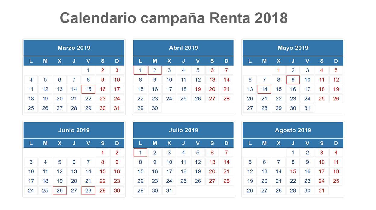 Aeat Calendario Fiscal 2020.Este Es El Calendario De La Declaracion De La Renta 2018 2019