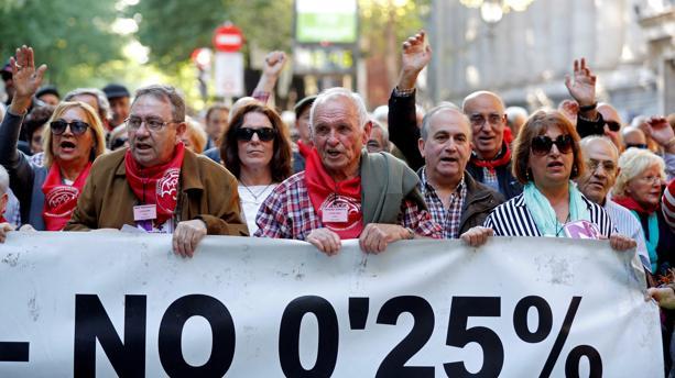 Manifestantes ayer en Bilbao