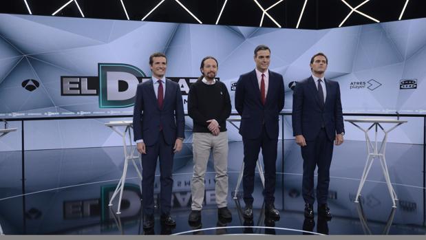 Imagen del los candidatos a presidente del Gobierno de PP, Unidas Podemos, PSOE y Ciudadanos