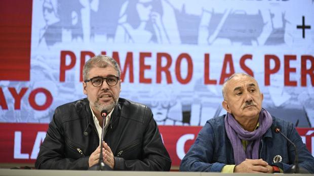 Sordo y Álvarez, hoy, en la presentación de los actos del Primero de Mayo