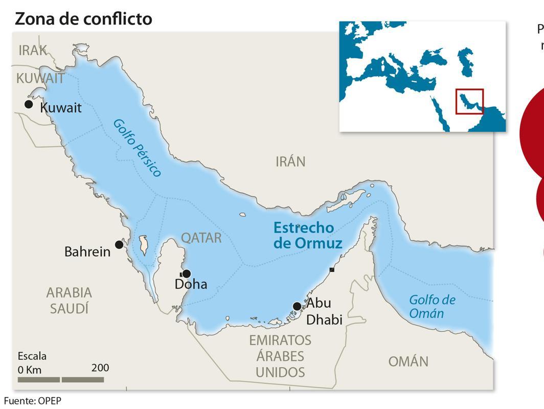 España importa del golfo Pérsico el 21% del crudo que llega a nuestras refinerías