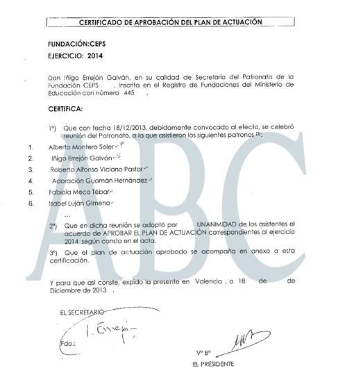 Primera página del plan de CEPS para 2014, firmado por Errejón