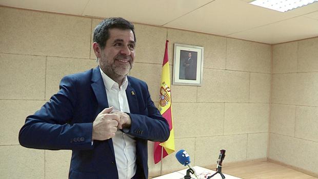 Jordi Sànchez, ayer en la rueda de prensa que ofreció desde la cárcel