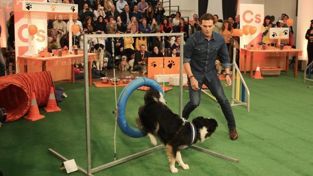 Albert Rivera participa en un ejercicio de exhibición con un perro