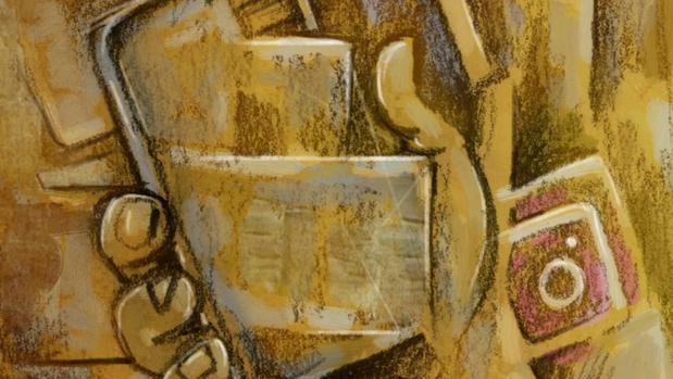 Dibujo de una mano sujetando un móvil con los logos de las principales redes sociales de fondo