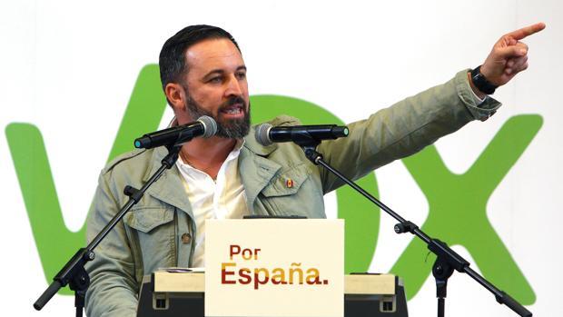 El candidato de Vox a la Presidencia del Gobierno, Santiago Abascal, durante una intervención celebrada hoy en Alicante