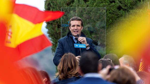 Pablo Casado durante el mitin celebrado ayer en un cigarral de Toledo